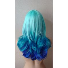 Ombre hair - yahoo image search results mermaid hair color d Blue Ombre Wig, Blue Wig, Ombre Wigs, Ombre Hair Color, Cool Hair Color, Hair Colors, Colours, Twisted Hair, Lace Hair