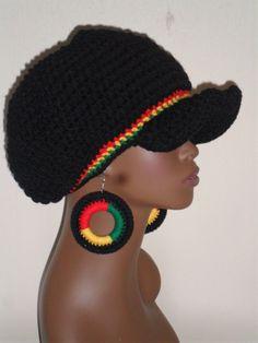 Black Rasta Heritage Crochet Cap Hat and Earrings by Razonda Lee Crochet Earrings Pattern, Crochet Patterns, Rasta Tattoo, Crochet Cap, Afro, Love Hat, Crochet Woman, Halloween Disfraces, Streetwear
