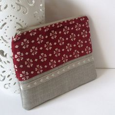 Make up cosmetic fabric handmade quilted linen purse bag