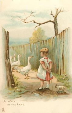 A WALK IN THE LANE-painted by Helen Jackson-children HELEN JACKSON signed ART, CHROMOGRAPHED IN GERMANY, same images, French backs SERIE 628 First Use:	23/12/1903