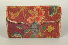 """Philadelphia needlework pocketbook, ca. initialed """"LG"""" with floral decoration on a dark red ground, 4 x 7 Sewing Pockets, Sewing Box, Embroidery Purse, Crewel Embroidery, Book Letters, Pocket Books, Inspiring Things, Bargello, Textile Design"""
