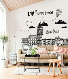 Wall Sticker LONDON CITY by Sticky!!! Wall Stickers London, Big Ben London, London City, City Life, Home Decor, London, Decoration Home, Room Decor, Interior Decorating