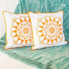 Cojines mandala naranja - Conjunto de dos cojines de diseño - Tela de algodón y lana, estampada con linóleo y cosida a mano - Con cremallera de RainTreePrintmaking en Etsy