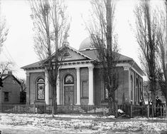 Holy Trinity Greek Orthodox Church, December 10, 1908. This elegant little church stood on 400 South facing up Rio Grande Street. It served the city's Greek community from 1905 until the completion of a larger building in 1924. A warehouse stands in place of this building today.