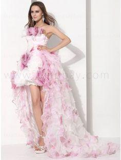 Fabric: Organza   Neckline: Strapless  Color: Pink  Details at:   http://www.asapbay.com/strapless-short-quinceanera-dress-e12057g.html
