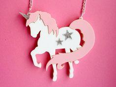 Acrylic Unicorn Necklace UNICORNZZZ Pink and by GlitterbombUK