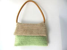 PuRse-Light brown green knitted purse CottonVintage by AnnaLela