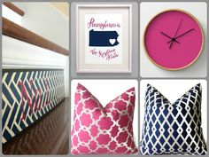 Navy & Fuchsia, can't get enough! Clockwise from top, right: Fuchsia Clock by LushTartArtProject on Etsy; Navy & Pink Throw Pillows by DEKOWE on Etsy; Spring 2015 Numbers NAVY Stair Riser Plaque by Tribute Designs on Etsy www.tributedesigns.etsy.com; State Map Art, Pennsylvania by AddisonAndLake on Etsy