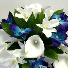 Silk wedding bouquet latex white calla lily teal blue orchid teardrop flowers