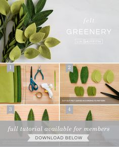 DIY photo tutorial for felt greenery stems by Lia GriffithYou can find Felt flowers and more on our website.DIY photo tutorial for felt greenery stems by Lia Griffith Fabric Bow Tutorial, Felt Flower Tutorial, Felt Flower Diy, Felt Flower Bouquet, Felt Flower Wreaths, Felt Wreath, Felt Garland, Handmade Flowers, Diy Flowers