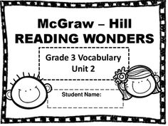 mcgraw hill wonders third grade vocabulary words test