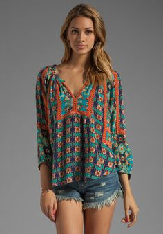 Tolani Ruby Blouse in Turq Floral