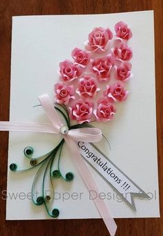 Paper Quilled Beautiful 12  Pink Rose Card for Happy Birthday, Anniversary,Graduation,Congratulations,  Wedding,love card by SweetPaperDesignSol on Etsy https://www.etsy.com/listing/226353428/paper-quilled-beautiful-12-pink-rose
