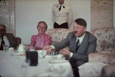 Hitler eating with his personal physician, Prof. Theodor Morell,  and the wife of Gauleiter Albert Forster at the Berghof  Hugo Jaeger / Timepix / Time & Life Pictures / Getty Images