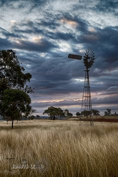 Out in the country by Travis & Jasmin Lord Western Australia, Australia Travel, Queensland Australia, Farm Windmill, Australian Photography, Country Scenes, Water Tower, Landscape Paintings, Landscapes