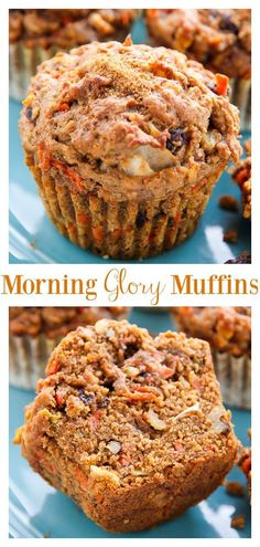 Breakfast Recips: My favorite morning glory muffins are healthy hearty and so delicious! Loaded with carrots apples raisins nuts and coconut theyre sure to become one of your new favorite muffin recipes! Perfect for breakfast or as an after-school snack. Morning Glory Muffins, Baking Recipes, Dessert Recipes, Healthy Cupcake Recipes, Healthy Snacks, Healthy Bread Recipes, Ramen Recipes, Kid Snacks, Lunch Snacks