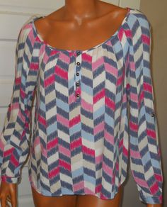 Chevron Pink Peasant Shirt Purple Pastel Long Sleeve Rayon Festival M Red Camel #RedCamel #Peasant #Casual