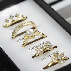 diamond crown bow pearl flower rings set (5pc a set price) ,cheap fashion ring  shop at,cheap fashion ring  shop at www.costwe.com/double-rings-ring-sets-c-47_98.html