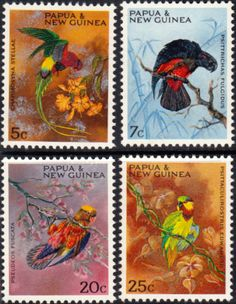 Papua New Guinea 1967 Parrots Set Fine Mint SG 121/4 Scott 249/52 Other European and British Commonwealth Stamps HERE!