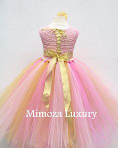 Pink and Gold Flower girl dress Peppa Pig tutu dress