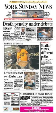 York Sunday News front page for April 8