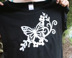 Designer T-shirt created for my Daughter - cut stencil with Silhouette machine then used fabric ink. All done in one day.