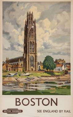 Freda Marston, BOSTON, British Railways lithograph in colours, cond. B+, printed by Vincent Brooks, Day  Son Ltd., London