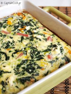 Spinach and bacon tart, with feta Greek Recipes, My Recipes, Healthy Recipes, Healthy Food, Recipies, Salty Tart, Pizza Tarts, Greek Cooking, Brunch