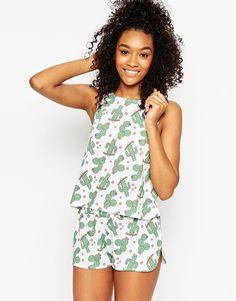 Image 1 ofASOS Cactus Print Vest & Short Pyjama Set