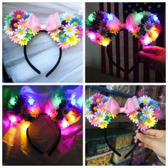 Rainbow LED Light Up Mickey Ears,Flower Mickey Ears,Floral Mickey Ears,Disney Ears,Flower Mouse Ears,Disney Headband,Disneyland Ears,Ears by TheLUMiShop on Etsy https://www.etsy.com/listing/271241069/rainbow-led-light-up-mickey-earsflower