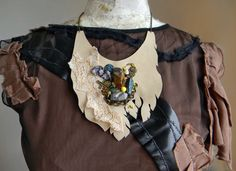 Leather Bib Necklace Steampunk Couture Necklace in by Elyseeart