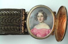 French portrait miniature c. 1835 in 18K enameled case with woven hair bracelet