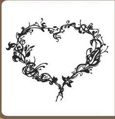 heart with rose drawings - Домашние растения. Цветы.