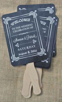 Wedding Fans,  Wedding Favors, Rustic Wedding Fans, Chalkboard Wedding, Hand Fans,  by abbey and izzie designs