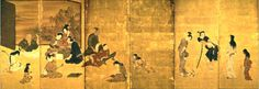 People engaged in various activities: playing music,talking. - Genre scene (紙本金地著色風俗図, shihonkinjichoshoku fūzokuzu) or Hikone Screen (彦根屏風, hikone byōbu). Six-section folding screen (byōbu), 94.5 cm x 278.8 cm. Color on paper with gold leaf background. Formerly held by the Ii family. Located at the Hikone Castle Museum, Hikone, Shiga, Japan