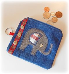 Elephant Zipper Pouch Recycled Denim Coin Purse by TheTopianDen