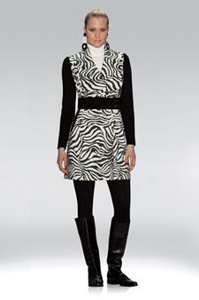 "ETCETERA - ""SERENGTI"" $450 Cheetah leopard Tiger knit jersey jacquard topper with merino wool knit waist, sleeves & leather buckle accent. Looks fabulous with our ""AMMO"" Equestrian-inspired legging!"