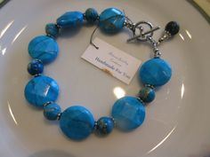 """Handmade For You 7 1/2"""" Dyed Bright Blue Natural Imperial Jasper Stone Disk Beaded Designer Bracelet Silver Toggle Clasp and Dangle B85 by JewelsHandmadeForYou on Etsy"""
