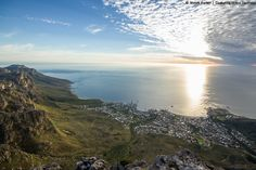 Sunset from the top of Table Mountain - Cape Towns most iconic landmark Table Mountain Cape Town, Stuff To Do, Things To Do, River, Explore, Mountains, Sunset, Camps, Places