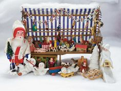 Home At Last - Antique Doll and Dollhouses: 92 German Miniature Christmas Bazaar with Snow Baby Collection