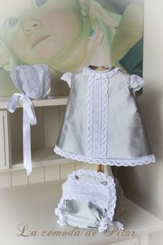 Conjunto en shantu de seda natural griscon encajes de alençonfrancés http://lacomodadepilar.blogspot.com.es/