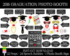 Graduation Photo Booth Props 2016–Set of 47 Pieces (22 Props,24 Speech Bubbles,1 Photo Booth Sign)-Class of 2016 Props-Instant Download-GP1
