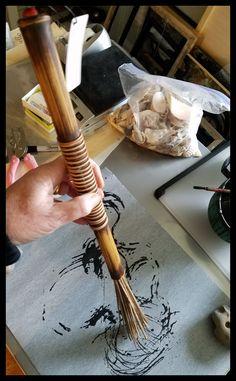 Handmade Paint Brush 7 inch Natural Stiff Fiber Bristles, On A 13 inch Long TX Bamboo Handle