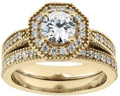 Round-cut igl certified diamond halo engagement ring set in 14k gold (1 1/4 ct. t.w.)