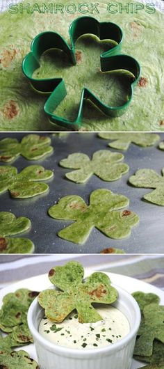 Shamrock chips made from spinach tortillas for St. Patrick's Day (could use a tree cookie cutter for Christmas)