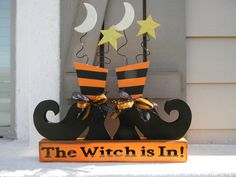 The witch is in Halloween decorations shoes Dulceros Halloween, Country Halloween, Halloween Wood Crafts, Adornos Halloween, Halloween Painting, Halloween Goodies, Halloween Signs, Halloween Projects, Holidays Halloween