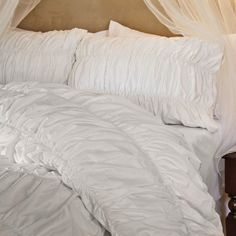 Ruched Duvet Cover Bedding - White | Crane & Canopy