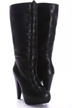 Lace up stacked heel boots scream Vegas! Knee High Heels, High Heel Boots, Heeled Boots, Bootie Boots, Shoe Boots, Fringe Cowboy Boots, Ankle Cowboy Boots, Black Platform Boots, Black Boots