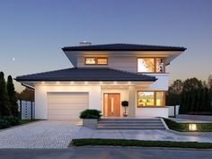 Karat storey house design with an area with garage with envelope roof with terrace check it out! Architect House, Modern Architecture, Halle, Home And Family, House Styles, Outdoor Decor, Home Decor, Family Houses, Profile