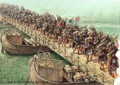 Roman military bridges were usually boats bridges, reinforced with towers at each end, doors and walls where small defensive garrisons were billeted. The Trajan's column and the Aurelian column document very clearly the hard task of bridge building on boats during campaigns.
